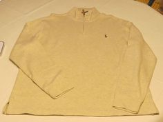 Polo Ralph Lauren 1/4 zip sweater L/S shirt L Estate Rib Mens Faded Cream hthr #PoloRalphLauren #sweaterpolo