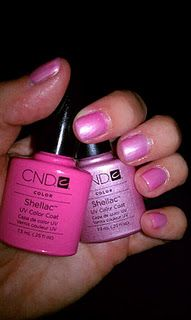 CND Shellac layering, Gotcha & Strawberry Smoothie makes Barbie pink!