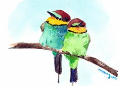 ACEO Limited Edition Rainbow bee eater Art print 2.5x3.5