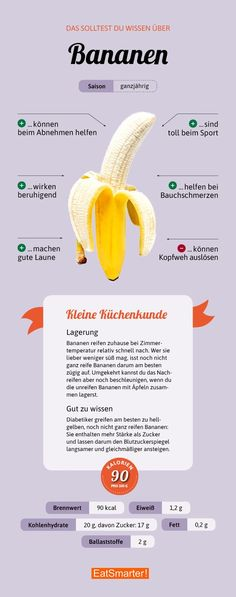 You should know about bananas - gesunde Ernährung - Nutrition Nutrition Education, Diet And Nutrition, Nutrition Quotes, Sports Nutrition, Bananas, Healthy Life, Healthy Eating, Fat Burning Drinks, Health Lessons
