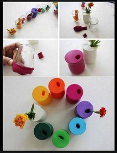 Activité manuelle avec enfant : vase colorés en un tour de main