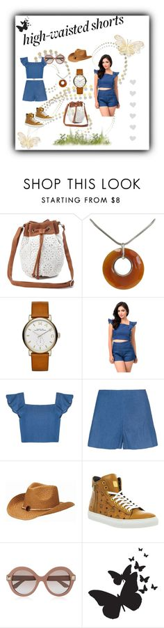 """high-waisted shorts"" by elci-el ❤ liked on Polyvore featuring Charlotte Russe, Cavendish French, Marc Jacobs, San Diego Hat Co., MCM, Valentino, highwaistedshorts and polyvoreeditorial"