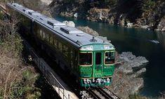 luxury sightseeing trains running in Shikoku, Japan Japan Japan, Running Training, Japan Travel, Fields, Trains, Vacation, Mountains, History, Historia
