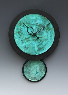 Raeia Verdigris Pendulum Clock by Leonie  Lacouette: Painted Clock available at www.artfulhome.com