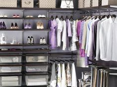 Elfa into a corner! The Container Store > Walnut & Platinum elfa décor Walk-In Closet contemporary closet Elfa Closet, Closet Space, Shoe Closet, Walk In Closet Design, Closet Designs, Wardrobe Design, Master Closet, Closet Bedroom, Dorm Closet