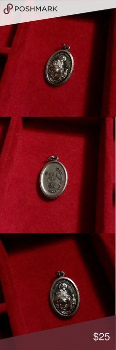 """Religious medallion St John pray for us Catholic medallion 1"""" by half inch Vintage Accessories Jewelry"""