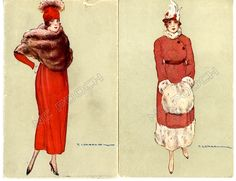 2 Corbella vintage postcards art deco pretty woman red coats hats & fur | eBay