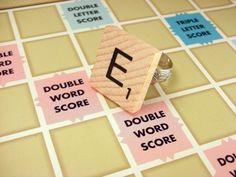 Custom Letter Scrabble Tile Wood Initial Ring on by luv4sams, $7.50