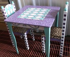 Custom Made Table and Chair set for Girls Purple and Turquoise Cheetah Kids Furniture and Decor by spoiltrottn on Etsy https://www.etsy.com/listing/179623771/custom-made-table-and-chair-set-for