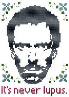 Its Never Lupus cross stitch chart Dr House Hugh by pickleladyfarm, $5.00