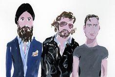 Waris Ahluwalia, Olivier Zahm, and Andre Saraiva at ThreeASFOUR, an illustration by... - purple DIARY