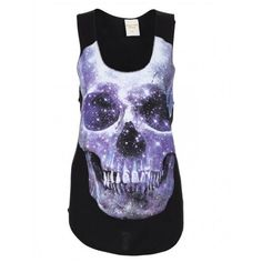 Ladies Galaxy Skull Jersey Top Black ❤ liked on Polyvore featuring tops, shirts, tank tops, tanks, sleeveless shirts, skull tank, sleeveless tank, jersey tank top and loose tank tops