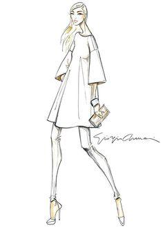 Giorgio Armani Luxury White capsule collection sketch by pam