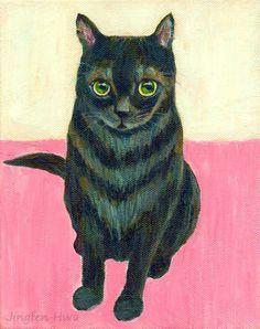 "5x7 print 4x6 cat art print ACEO ""A Black Tabby Cat And Pink"" wall art cat home decor (78)"