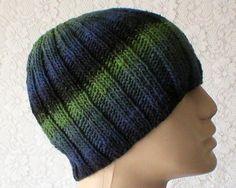 27ed0038a4d Beanie hat navy blue black green striped hat knit hat Black Watch tartan  look hat mens womens knit hat toque mens womens beanie chemo cap V4