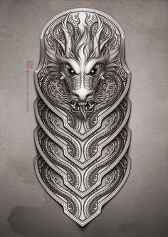 Half-sleeve dragon tattoo by Rocky Hammer, via Behance