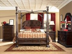 My bed, dresser and nightstand. ~Monaco California King Canopy Bed