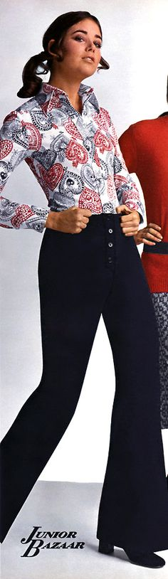 These were the pants style from 1970 to 1977! And blouses with prints like this? Yes I wore them! Sears #1 (Fall  Winter 1971)