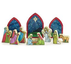 A decoupaged faux stained glass, wooden nativity set  #stained glass #wooden #nativity #burtonandburton