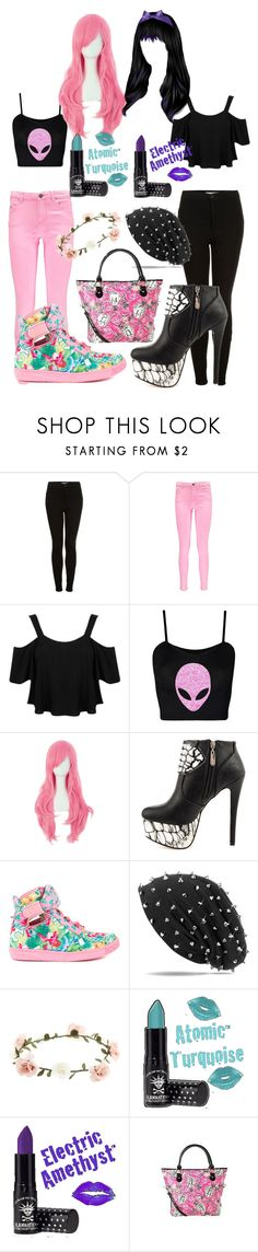 """The Pastel To My Goth"" by britt-fire ❤ liked on Polyvore featuring Topshop, Boohoo, Miss Selfridge, Iron Fist, Accessorize, women's clothing, women's fashion, women, female and woman"