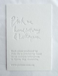 pick me hand lettering + letterpress.