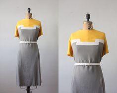 vintage 1960's geometric mustard linen dress by Thrush on Etsy