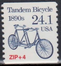 United States Postage Stamp. Tandem Bicycle from the 1890's.