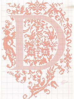 "cross stitch alphabet in 2 colors- very ornate monogram 26 single letters -- ""D'"" #4"