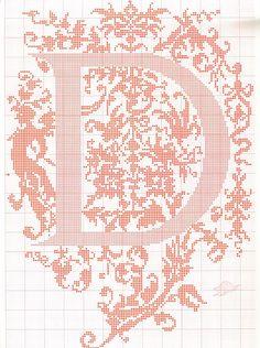 """point de croix- monogramme """"D"""""""