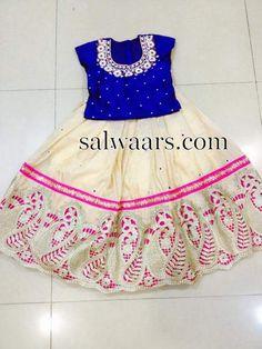 Off White Lehenga Blue Blouse - Indian Dresses