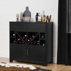South Shore Vietti Bar Cabinet with Bottle Storage and Drawers (Black Oak), South Shore Furniture Smart Storage, Wine Storage, Alcohol Storage, Armoire Bar, Wine And Liquor, Liquor Bottles, Liquor Bar, Up House, Sideboard Cabinet