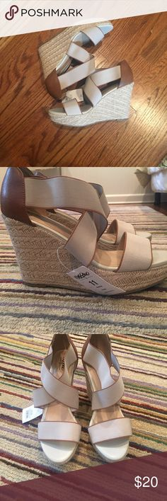 NWT Mossimo Taupe Wedges Brand new super cute cork wedges. Mossimo Supply Co Shoes Wedges