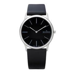 Skagen Men s black slim analogue dial leather strap watch e1193a653f97