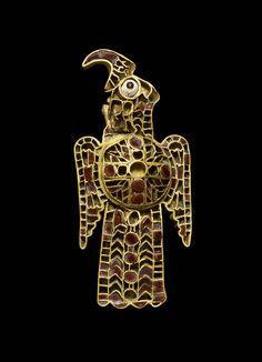 Ostrogothic Gold and Garnet Cloisonné Orinthomorphic Fibula, from the Domagnano Treasure. Gold and garnet, 5th Century C.E., Danube river region of Europe
