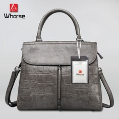 58.00$  Buy now - http://alikuz.shopchina.info/go.php?t=2048435025 - [WHORSE] Brand Logo Hot High Quality Women Handbag Genuine Leather Crocodile Shoulder Messenger Bags Real Cowhide Casual Tote  #aliexpress