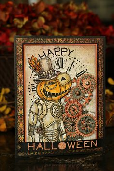 Hello there! Steampunk and Halloween seem to go so good together, so I couldn't resist this Steampunk Pumpkin stamp by Stampendous. I creat...