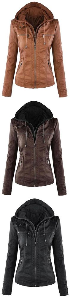 Hot autumn and winter women leather jacket zipper motorcycle leather coat short paragraph PU jacket large size coat Mode Outfits, Fashion Outfits, Womens Fashion, Fall Winter Outfits, Autumn Winter Fashion, Pu Jacket, Hooded Jacket, Brown Jacket, Inspiration Mode
