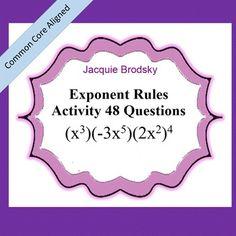 Exponent Rules Game: 48 Questions Worksheet and Free Math Games, Fun Math, Math 8, Math Help, Math Strategies, Math Resources, Maths Algebra, 8th Grade Math, Teaching Math