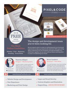 Pixel & Code Studio Branding: Website, Flyer, Mobile on Behance