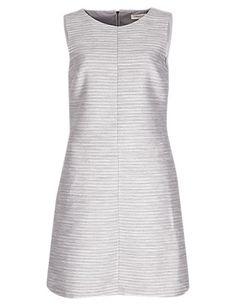Striped Jacquard Shift Dress   M&S