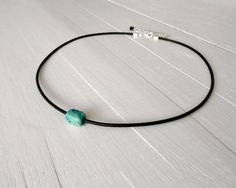 Single turquoise bead necklace black leather choker by tline