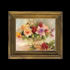 Roses in a Glass vase Miniature Painting Miniature Paintings, Dollhouse Miniatures, Oriental, Glass Vase, Dolls, Artist, Pictures, Houses, Google Search