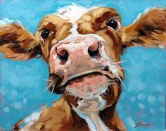 Items similar to Cow Painting, inch original oil painting of a Whimsical cow, paintings of cows on Etsy Animal Paintings, Animal Drawings, Art Drawings, Cow Painting, Painting & Drawing, Cow Pictures, Farm Art, Cow Art, Watercolor Animals