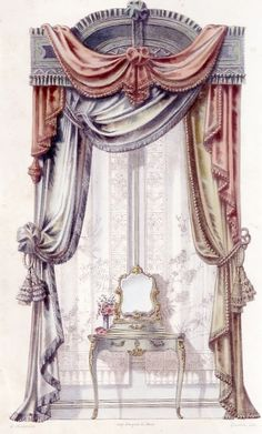 free designs using any of our featured fabrics… Window Coverings, Window Treatments, Classic Curtains, Elegant Curtains, Victorian Curtains, Drapery Designs, Decoration Inspiration, Drapes Curtains, Valances