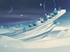 Dribbble - What the popup [GIF] by Craig Henry 3d Landscape, Winter Landscape, Low Poly Games, Pix Art, Low Poly Models, Low Poly 3d, 3d Artwork, Airbrush Art, Inspirational Artwork