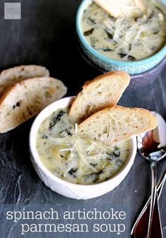 This creamy Slow Cooker Spinach Artichoke Parmesan Soup takes all the things you love about the dip and makes it into a soup. Perfect side for bread and sandwiches.