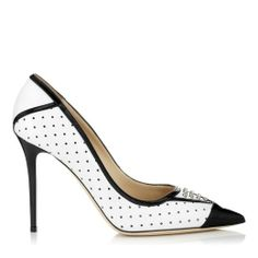 #Jimmy Choo DAIQUIRI White Leather Pumps with Patent Trim and Studs