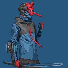 #Illustration #cyberpunk #art #graphic #future Bryan Lie  @panda.cafe Robots Characters, Black Anime Characters, Fantasy Characters, Character Concept, Character Art, Concept Art, Mode Cyberpunk, Samurai Artwork, Japanese Warrior