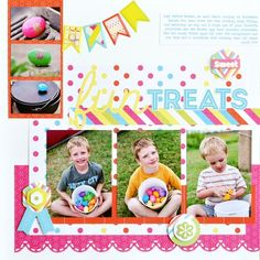 Easter Fun Treats Scrapbook Layout Idea from CM project center. I think this layout could be used for lots of different occasions. Love that you can get 6 pics on here. KRM