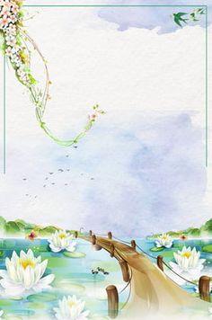 summer watercolor lotus pond blue Chinese Background, Plant Background, Girl Background, Background Images, Watercolor Lotus, Watercolor Flowers, Flyer Poster, Beautiful Girl Drawing, Lotus Pond